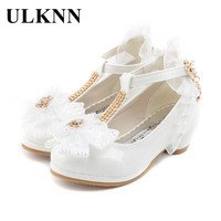 ULKNN Children Party Leather Shoes Girls PU Low Heel Lace Flower Kids Shoes For Girls Single