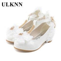 Ulknn crianças festa sapatos de couro meninas plutônio baixo salto laço flor crianças sapatos para meninas único sapatos dança vestido sapato branco rosa