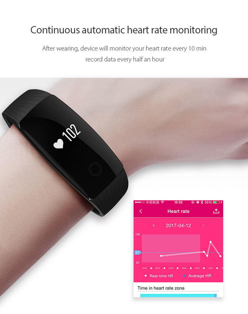 image for Smart Band Smartband Heart Rate Monitor Wristband Fitness Flex Bracele