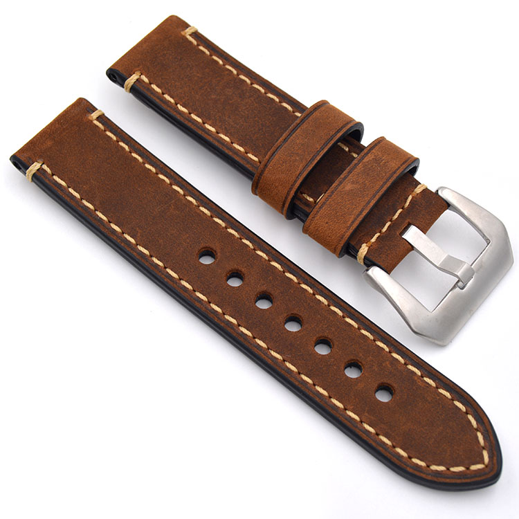 Genuine Leather Watch Accessories Brown Yellow Grey Strap Watch
