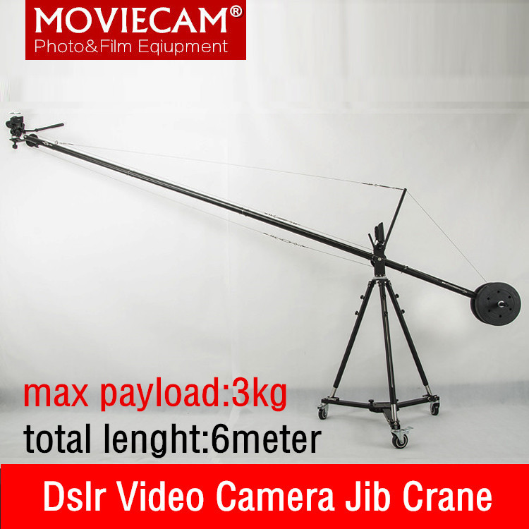 3kg Load INLPIE 6 Meter Aluminium Pan Tilt Head Portable Adjustable Lenght Mini Professional DSLR Video Camera Crane Jib Arm professional dv camera crane jib 3m 6m 19 ft square for video camera filming with 2 axis motorized head