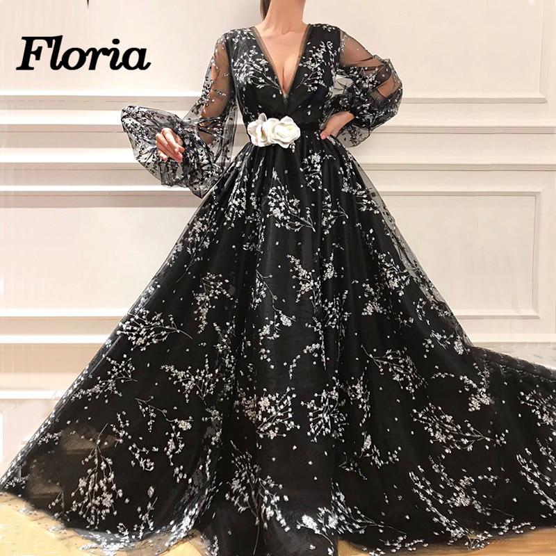 2d212be3d796482 Купить Новые черные вечерние платья с большими рукавами 2018 Арабский  мусульманский Дубай вечернее платье для выпускного вечера вечерние платья .