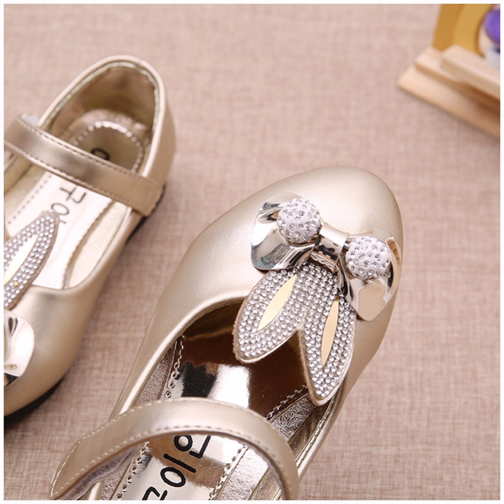 Fashion Children Princess Shoes Rose  Gold Silver PU Leather Cute Rabbit  Bowknot Rhinestone Flower Girls Dress Shoes-in Leather Shoes from Mother    Kids on ... c67e7a51d3a5