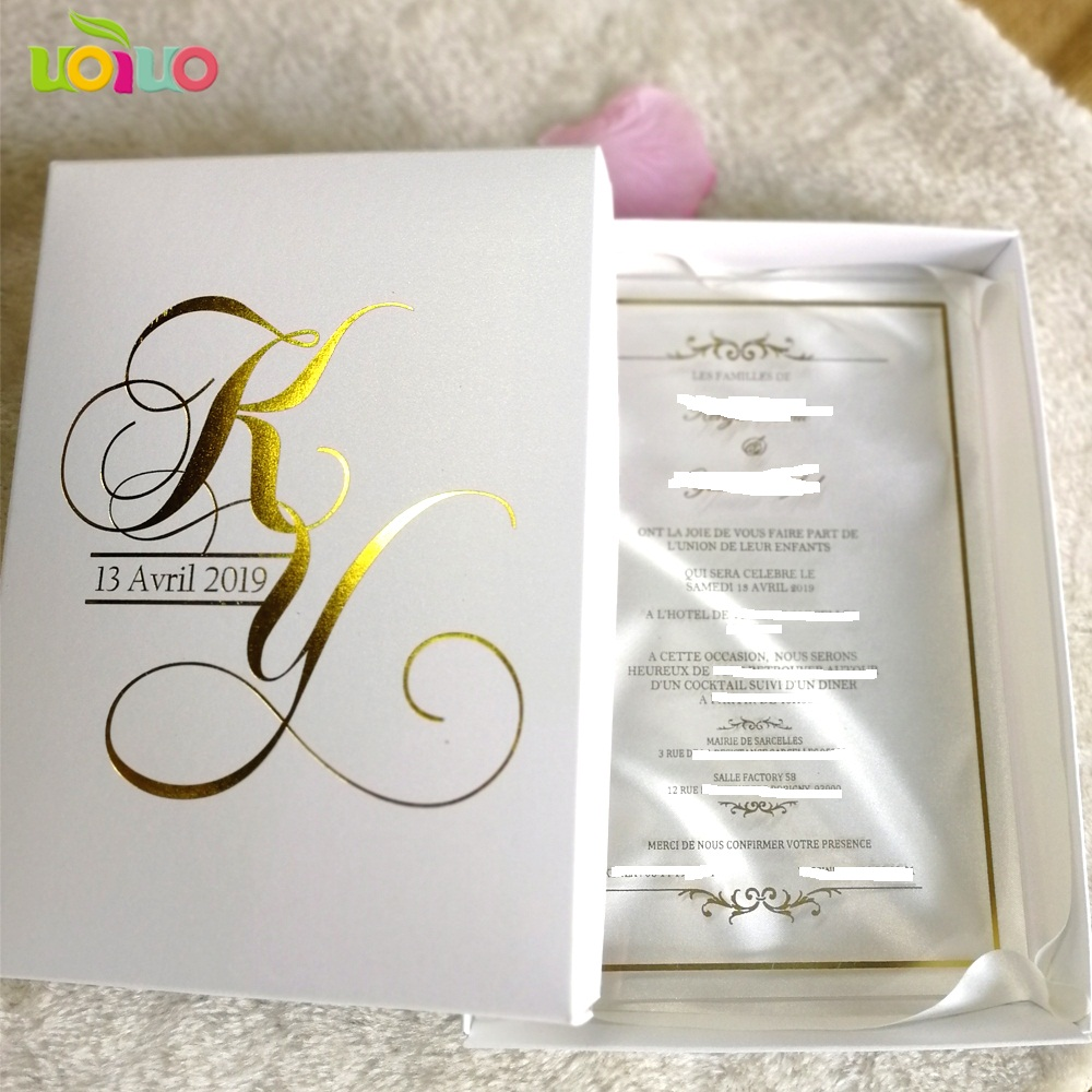 Charmant 30pcs Hot Sale Custom Printing Clear Acrylic Card,wedding Invitation Card  With Boxes(logo