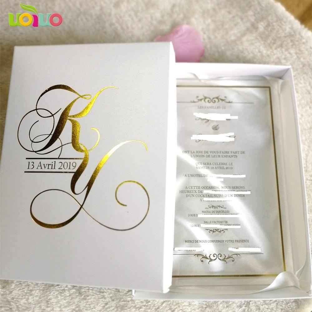 Unique Wedding Invitations In A Box: 30pcs Hot Sale Custom Printing Clear Acrylic Card,wedding
