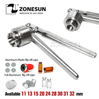 ZONESUN New Manual Vial Crimper Stainless Steel Flip Off Caps Hand Sealing Machine Silver