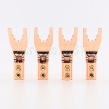 Free shipping 4pcs Pure Copper Speaker Cable Wire spade Plug AMP Terminal Y fork for speaker cable