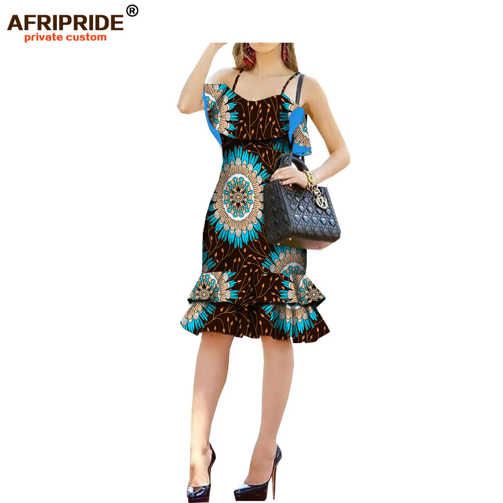 2018 casual summer dress for women AFRIPRIDE spaghetti strap knee-length wax cotton 2 layers bottom A1825019