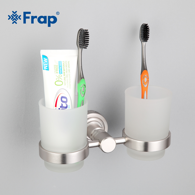 Frap Space aluminium Cup Holder Glass Cups Bathroom Accessories Toothbrush Tooth Double Cup Holder F3708 bathroom accessories toothbrush holder chrome brass cup&tumbler holder wall mounted double glass cup holder zr2671