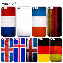 цена на MaiYaCa National flag French Germany Iceland Pattern Hard Phone Case for iPhone 8 7 6 6S Plus X 10 5 5S SE 5C 4 4S Coque Shell