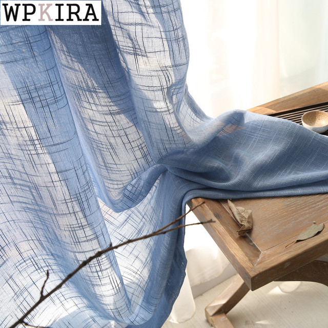 Tende blu solido tulle finestra modern living room di lino bianco tende di tulle