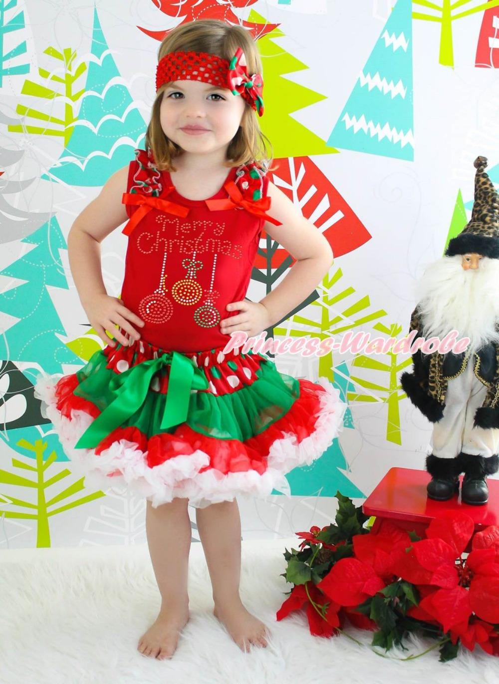 Merry Christmas Lighting Red Top Xmas Dot Waist Girls Pettiskirt Outfit Set 1-8Y my 1st christmas santa claus white top xmas dot waist girls pettiskirt set 1 8y