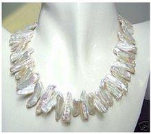 Women Gift word Love Free shipping 17″ White Biwa Freshwater Pearl Necklace Free shipping
