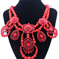 High Quality Unique Sweet Ribbon Chain Red Statement Necklace Choker Crystal Collar Necklace