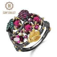 925 prata esterlina feito à mão ramo de abelha de ouro anéis para mulheres jóias finas pulseira de pedra preciosa natural rhodolite