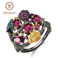 GEMS BALLET Natural Rhodolite Garnet Gemstone Ring 925 Sterling Silver Handmade Branch Gold Bee Rings for Women Fine Jewelry