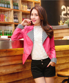 2017 new design PU women leather jacket pink patch color fashion women spring autumn slim leather PU coat black blue