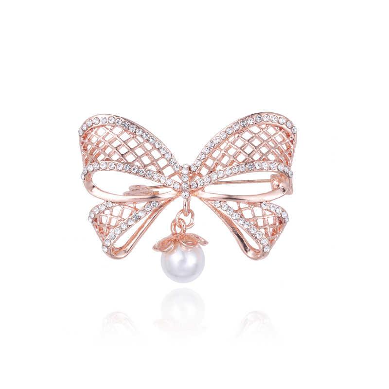 Baiduqiandu nuovo arrivo oro di rosa squisito di colore placcato di cristallo e simulato della perla spilla pins per le donne