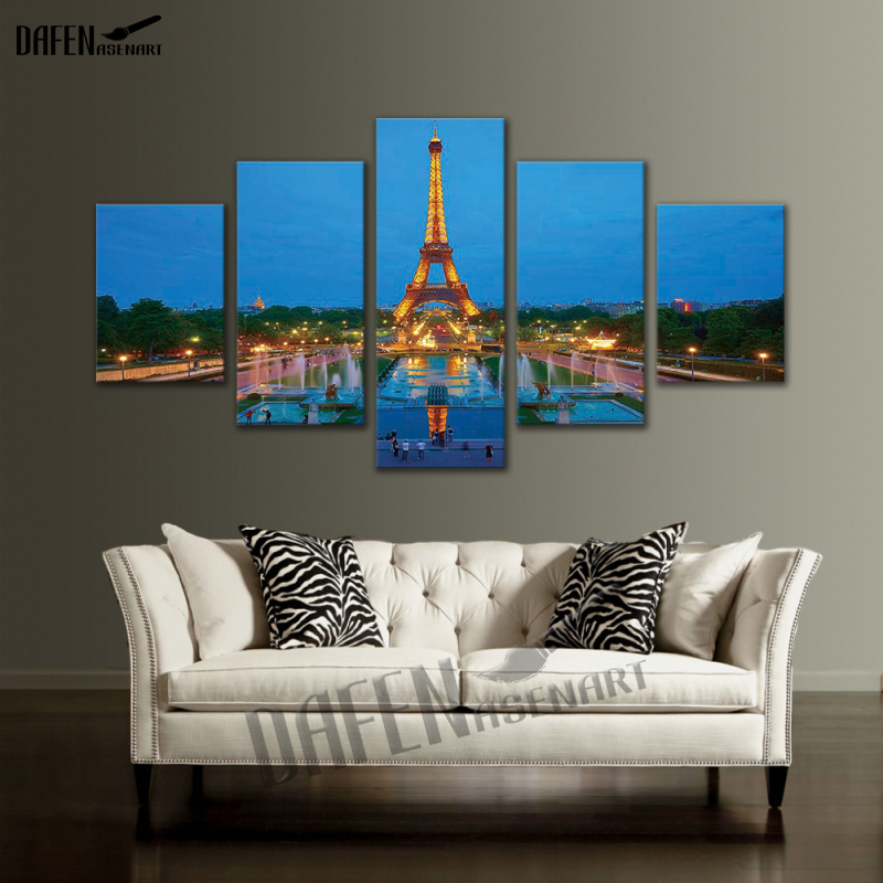 5 Pieces Picture Painting Paris City Landscape Pictures Tower Decoration Wall Art Canvas Print Framed Ready to Hang