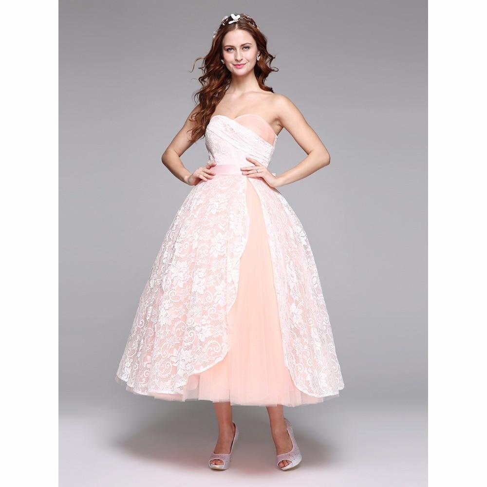 Sweetheart Lace Wedding Dress: LAN TING BRIDE Ball Gown Wedding Dress Sweetheart Tea