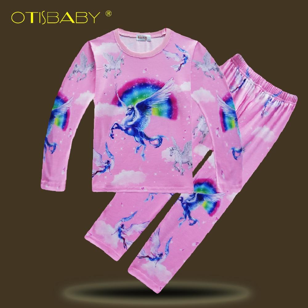 2 stücke Sommer 2-10 Jahre Kinder Unicorn Pyjamas für Mädchen Onesie Jungen Nachtwäsche Kinder Kleidung Set Niedliche tier Pyjamas Set