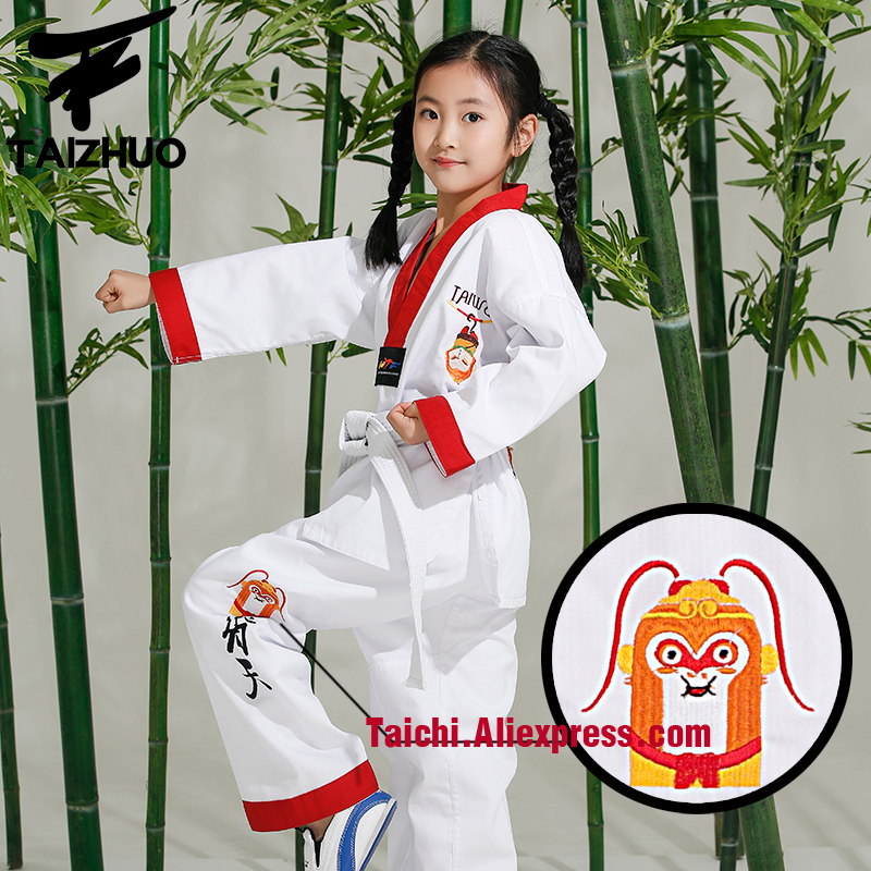 Martial Arts  Tae Kwon Do Children Taekwondo Uinform For Poomsae & Training,WTF Uniform,110-155cm White Color Monkey Embroidery