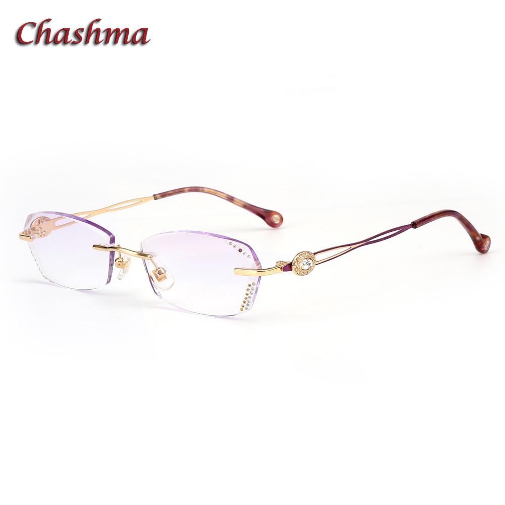 Chashma marque lentilles colorées alliage lunettes cadre lunette de vue femme sans monture lunettes diamant myopie lunettes cadres femme
