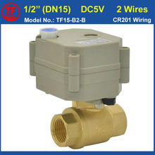 "TF15-B2-B DC5V 2 Wires BSP/NPT Female Thread 1/2"" (DN15) Brass Motorized Valve With Manual Override"