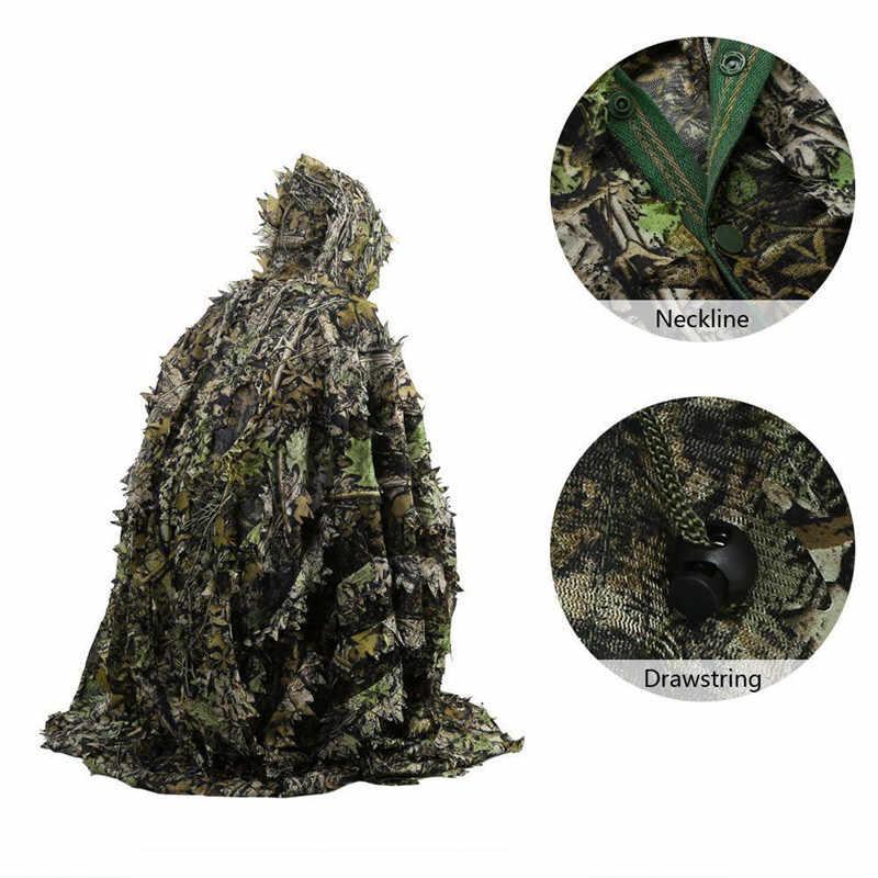 戦術的な葉ポンチョ迷彩ジャングル森林バードウォッチング通気性ユニセックス軍事狩猟の Ghillie スーツ 3D カエデの葉岬