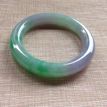 Natural Burma jade spring of A cargo is exquisite color round bar bracelet   Send certificates, send jewelry box natural old pit a cargo ice waxy filled with purple violets bracelet burma stone bracelet with certificat