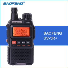 Baofeng уф-3r + walkie talkie vhf/uhf dual band уф-3r плюс портативный walkie talkie с гарнитурой uv3r двухстороннее ham радио трансивер