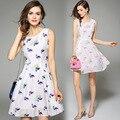 Фламинго платье 2016 летнее платье украина кайли дженнер летний стиль свободного покроя хлопок без рукавов платье американского одежды