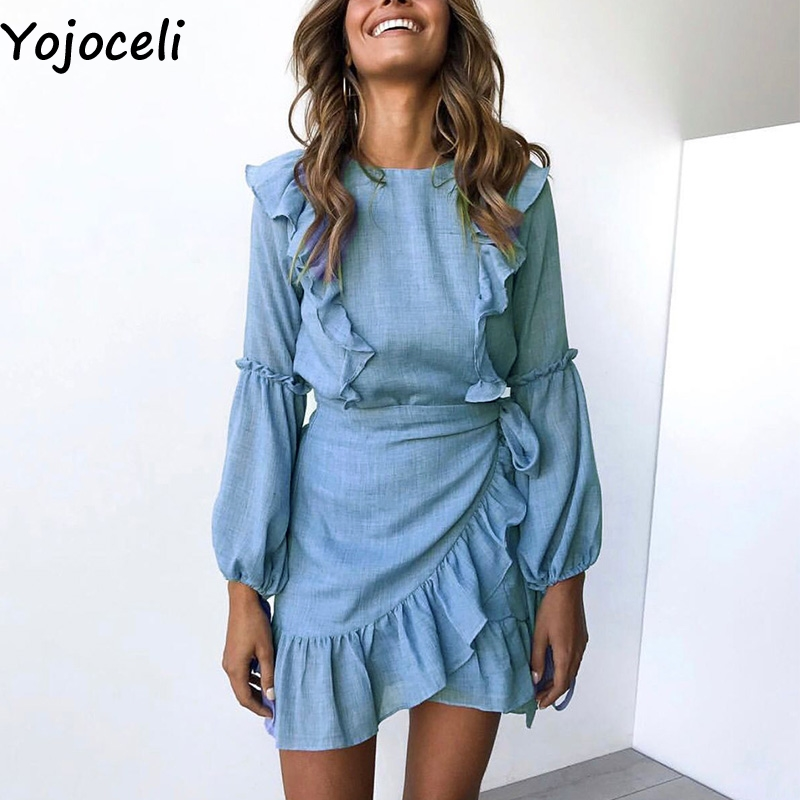dfc0816203fa6 Yojoceli Ruffle sexy short women wrap dress female vestidos Autumn mini  party elegant dress Casual bow beach daily cute dress
