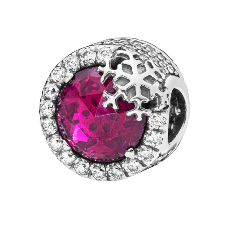 Newest 925 Sterling Silver Bead Dazzling Snowflake Charm, Clear Cz & Cerise Crystal Fit Pandora Bracelet & Bangle Diy JewelryNewest 925 Sterling Silver Bead Dazzling Snowflake Charm, Clear Cz & Cerise Crystal Fit Pandora Bracelet & Bangle Diy Jewelry