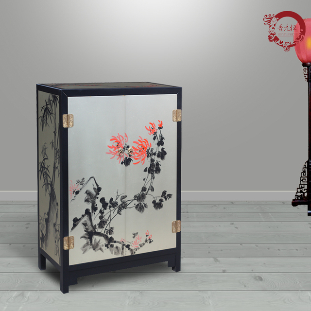 Jinyuan Heng New Chinese Hand Painted Lacquer Wood Cabinet Two Golden Vintage Decorative Furniture Sideboard Zen