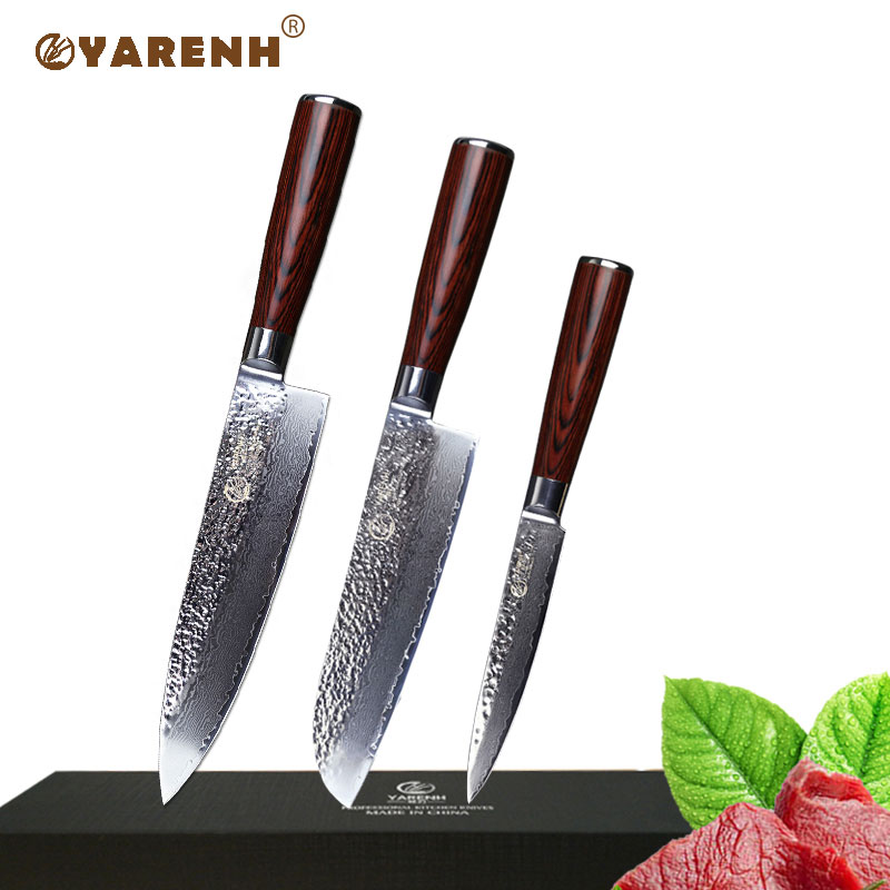 YARENH 3pcs kitchen knives set Japanese damascus steel chef knife sets with color wood handle santoku knife set cooking tools