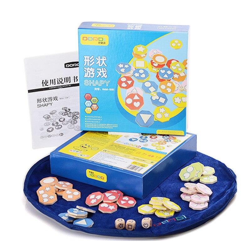 Candice guo en bois jouet en bois puzzle shapy plateau de jeu de bureau drôle dés match enfant bébé intelligence de noël cadeau d'anniversaire 1 set