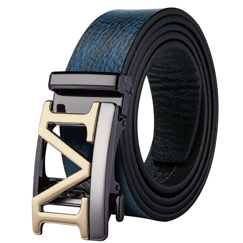 Fashion Designer Gold Buckle   Belts   for Men Blue Leather   Belt   Men Luxury Cow Leather Automatic Buckle   Belts   3.5cm Wide GE-0058