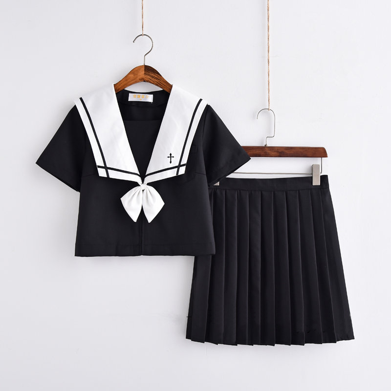 Cross Embroidery Japanese High School Girl Sailor Uniform Suit Cosplay Costume Black Short/Long Sleeve Japanese Anime Uniform