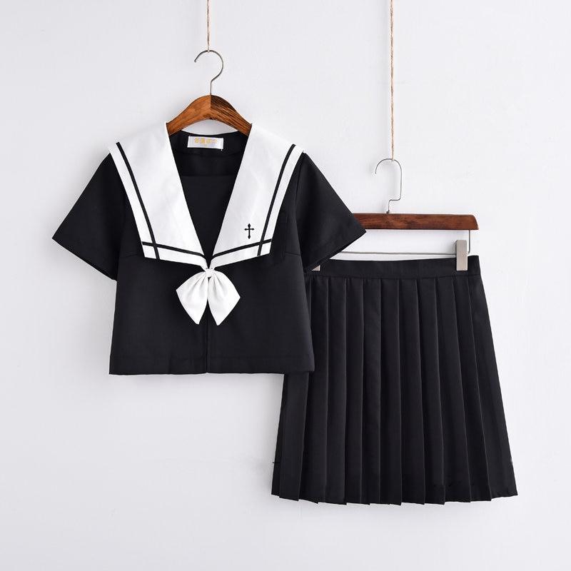 Cross Embroidery Japanese High School Girl Sailor Uniform Suit Cosplay Costume Black Short/Long Sleeve Anime