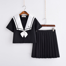 Cross Embroidery Japanese High School Girl Sailor Uniform Suit Cosplay Costume Black Short/Long Sleeve Anime