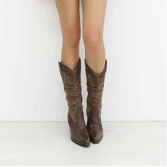 b761480de90 Detail Feedback Questions about XingDeng Girl Square Heel Knight Boots  Women Brand Designer Pointed Toe Western Boots Lady Vintage Carving Buckle  Mid Calf ...