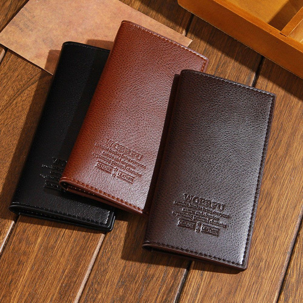 Men PU leather long clutch wallet business men Cards holder purse male fashion pocket wallet Coin bag Bifold purse Billfold men wallet genuine leather long size crazy horse cowhide leather male clutch coin purse card holder wallet