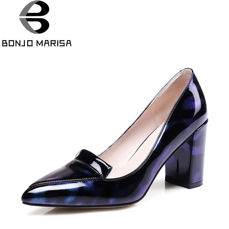 BONJOMARISA 2018 New Fashion Shallow Patent Mixed Color Pumps Sexy Pointed Toe Noble slip-on High Square Heel Women Shoes 2017 summer new fashion sexy lace ladies flats shoes womens pointed toe shallow flats shoes black slip on casual loafers t033109