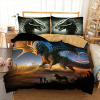 Dragon Bedding Set Twin Full Queen King UK Double Size Animal Duvet Cover Pillow Cases Cool Bedclothes 3D Bed Linen Set 3pcs
