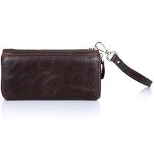 100% Genuine Oil Wax Cowhide Leather Men Wallet Men's Long Wallets Coin Purse Vintage Designer Male Carteira Man Clutch Bag