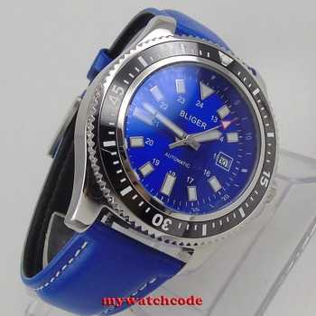 polished 44mm Bliger blue dial luminous marks black ceramic bezel date automatic mens watch