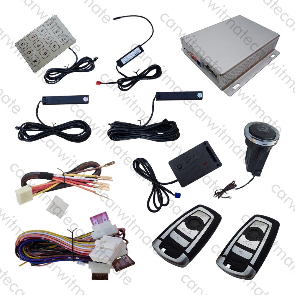 Qualité voiture PKE système d'alarme Long bouton poussoir avec capteur de choc à distance moteur démarrage arrêt mot de passe entrée sans clé Code de saut
