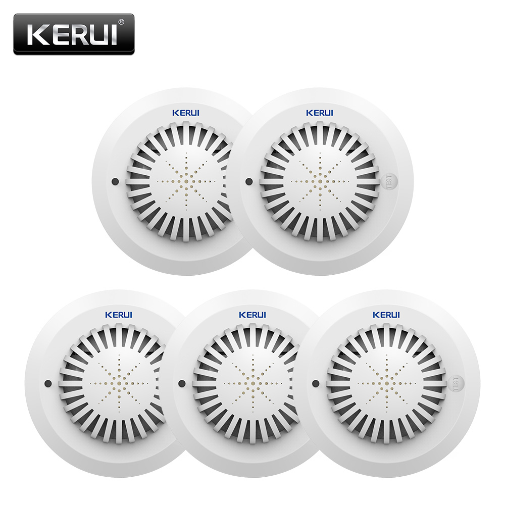 KERUI 5pcs/lot SD03 Human Voice Prompts High Sensitivity Fire Smoke Alarm Fire Smoke Detector For WareHouse Hotel Shop SecurityKERUI 5pcs/lot SD03 Human Voice Prompts High Sensitivity Fire Smoke Alarm Fire Smoke Detector For WareHouse Hotel Shop Security