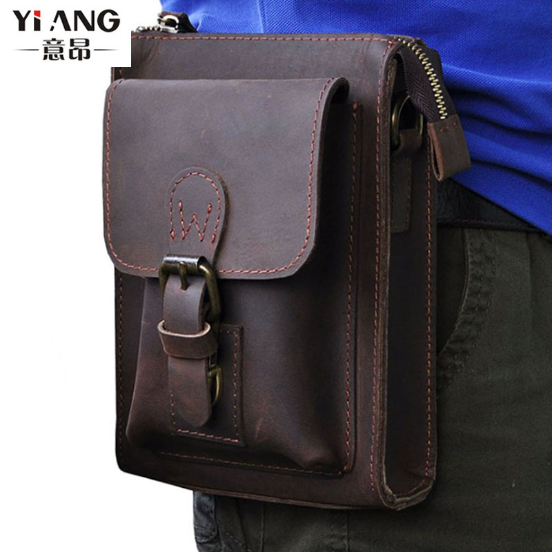 Men Vintage Crazy Horse Genuine Leather Fanny Waist Pack Bag Mobile Phone Case Coin Purse Belt Hip Bum Messenger Shoulder Bags men vintage crazy horse genuine leather fanny waist pack bag mobile phone case coin purse belt hip bum messenger shoulder bags